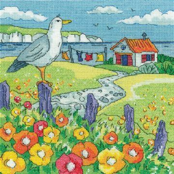 Heritage Crafts Karen Carter Collection Cross Stitch Kit - Poppy Shore